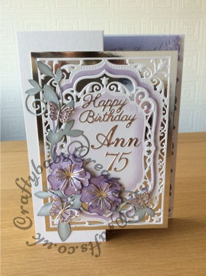 75th Birthday card made using Spellbinders Elegant labels 4 (inked through with distress inks), Blooms 3 and Romantic vines, Britannia sentiment dies, Cheery Lynn Lace script numbers dies and Memory box butterfly dies. Insert edge punched with Woodware crafty edger punch.