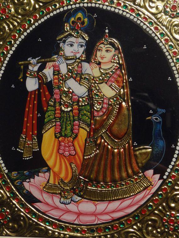 Decorative tanjore tray krishna etsy and paintings for Mural radha krishna