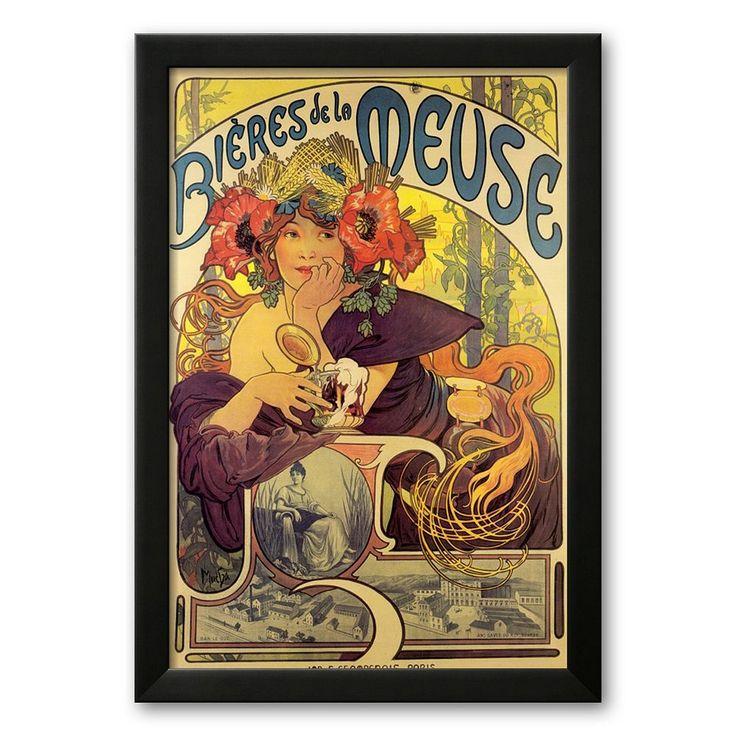 Art.com Bieres de la Meuse Framed Art Print By Alphonse Mucha, Multicolor