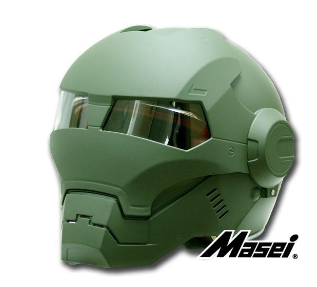 Masei US ARMY Dark Green Atomic-Man 610 Open Face Motorcycle Helmet for Harley Davidson