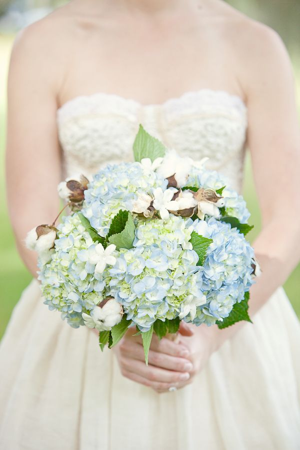 hydrangea and cotton bouquet...just an idea to tie it all in together...
