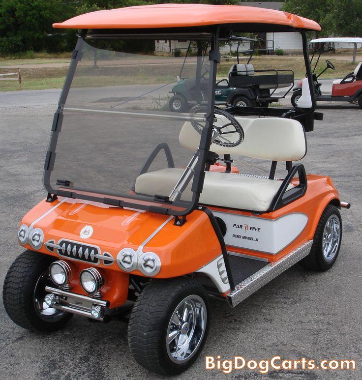 Little orange corvette! Built on a Club Car DS    Bigdog Custom Golf Carts