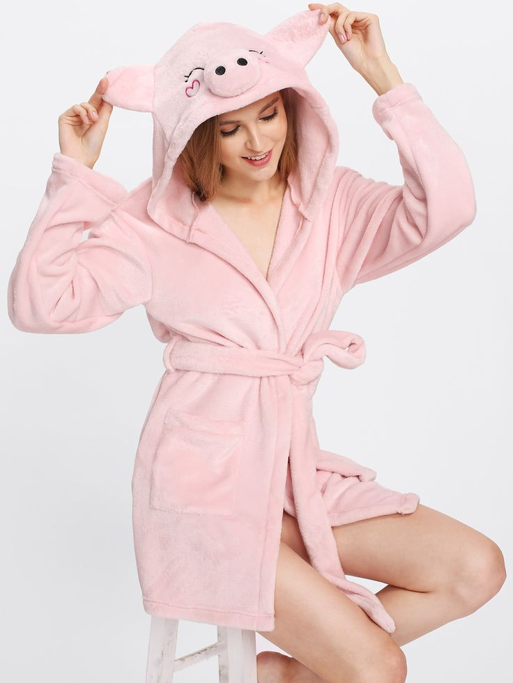 Shop Pig Hoodie Pocket Front Fleece Wrap Robe online. SheIn offers Pig Hoodie Pocket Front Fleece Wrap Robe & more to fit your fashionable needs.