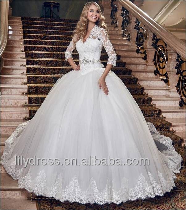 Vintage Princess Ball Gown Wedding Dress With Three Quarter Sleeve Sexy V Neck…