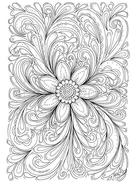 florales Bild zum Ausmalen Blumen  Dream of a von Fleurdoodles