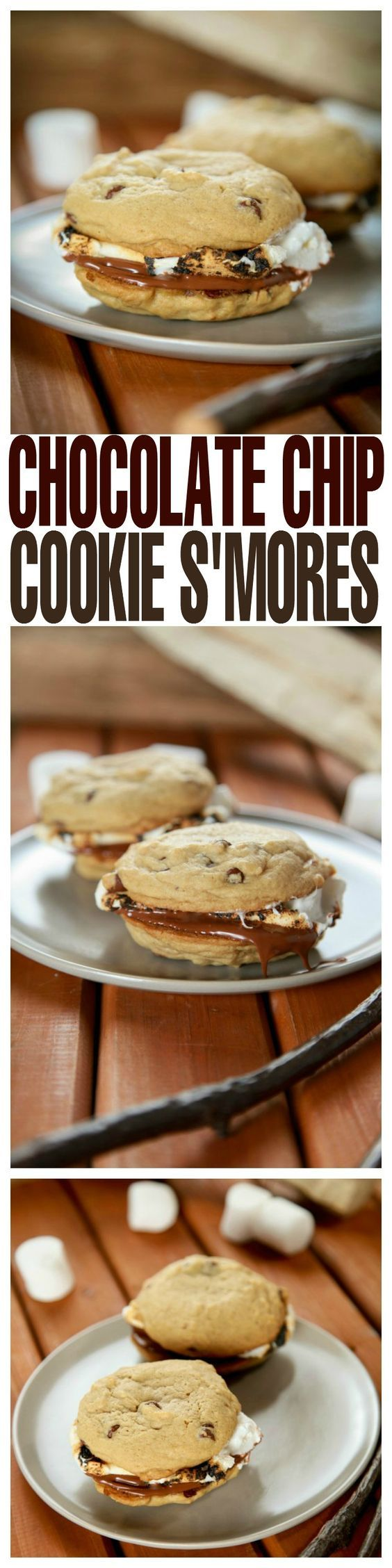 Gooey marshmallow and creamy chocolate sandwiched between two chewy chocolate chip cookies. #cookie #smore