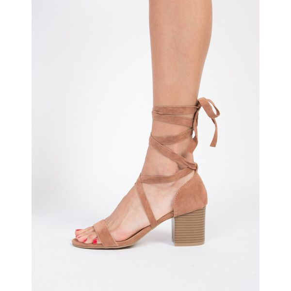 Lace-Up Block Heel Sandals featuring polyvore, women's fashion, shoes, sandals, camel, suede lace up sandals, lace-up sandals, chunky-heel sandals, summer sandals and high heel shoes