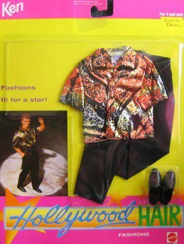 Barbie KEN HOLLYWOOD HAIR Fashion #3767 - Orange/Gold/Silver/Black Lame Shirt with Black Pants (1992) by Barbie