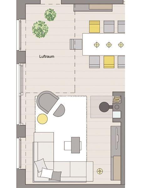 Wohnzimmer mit wohlf hl atmosph re wohnzimmer pinterest gro e fenster grundrisse und zu hause - Grundriss wohnzimmer ...