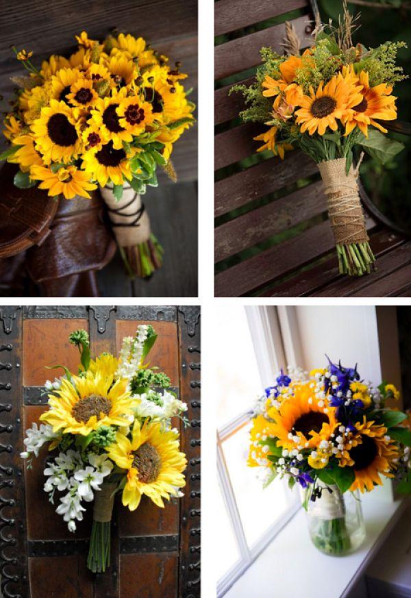 El ramo es el lugar por excelencia para una flor y tratándose de girasoles, poco más hay que añadir. Aún así, si quieres combinarlos con otros elementos, aquí tienes varios ejemplos. #bodas #girasol