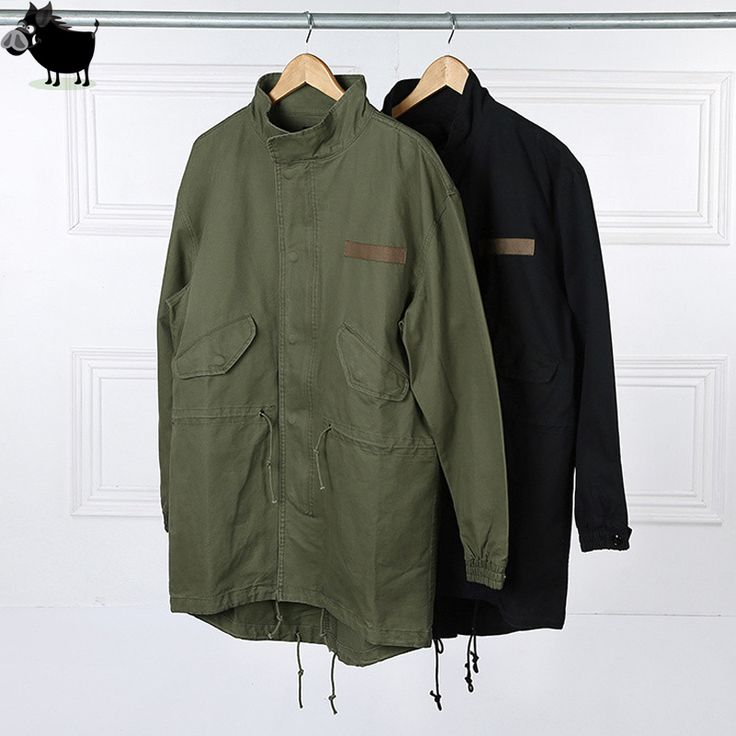 Man Si Tun  Fashion  Korean Hot Sale Men's Japan Jacket Overcoat Kanye West Black/Green Long Military Style European Trench Coat #Affiliate