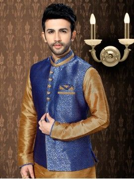 Plain Art Silk Kurta With Jacket In Mustard