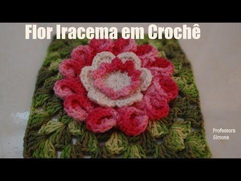 Passo a passo Flor em Crochê Iracema - YouTube