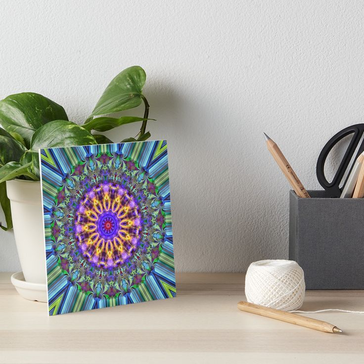 Inner Radiance Artboard by Terrella.  A colourful fractal mandala backed by lines of blue, green, brown & black. The mandala features glowing lines, flourishes & swirls. • Also buy this artwork on wall prints, apparel, phone cases, and more.