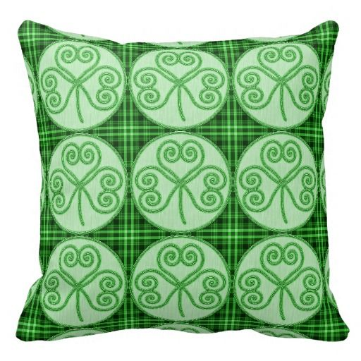 Green and Black Plaid Shamrock Pattern Pillow