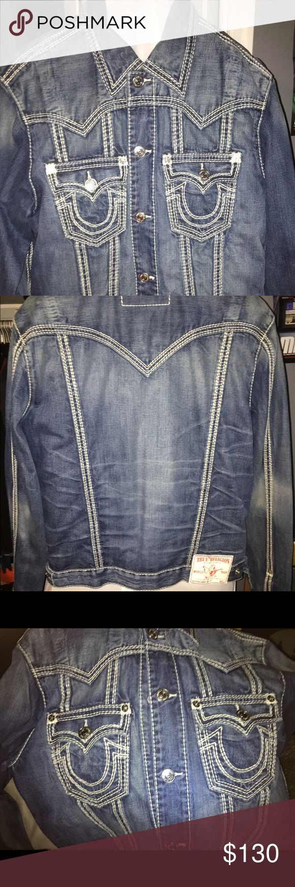 """True Religion Men's Jean jacket Dark navy blue, white stitching, size XL. """"Jimmy Big QT"""". 100% authentic from the store. 5 stitch pattern. No buttons/stitching missing. Matches the """"Billy Big QT"""" jeans in the previous post. Barely worn, great condition. True Religion Jackets & Coats"""