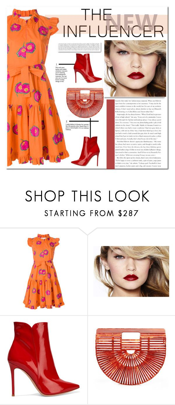 Orange And Pink Floral Dress by crblackflag on Polyvore featuring La DoubleJ, Gianvito Rossi, Cult Gaia, Anja and floralprintdress