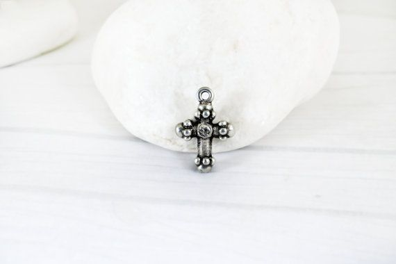 Antique Silver Cross Pendant Christian Metal by Mebeadterranean
