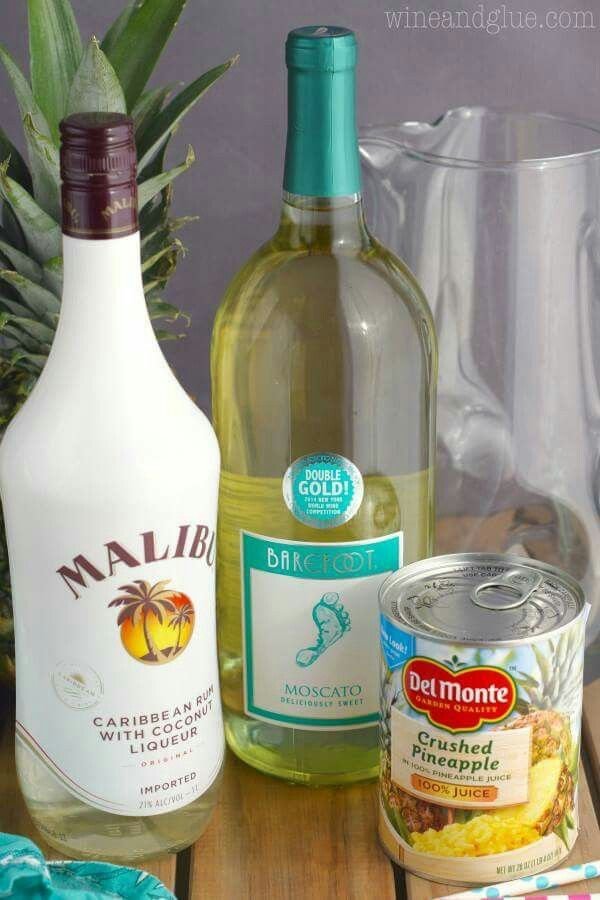 Pina Colada Sangria Ingredients 2 750 ml bottles of Moscato 20 oz can of crushed pineapple, juice and pineapple 1 1/2 cups coconut rum Instructions: Combine all the ingredients in a large pitcher . Refrigerate overnight, and serve chilled.