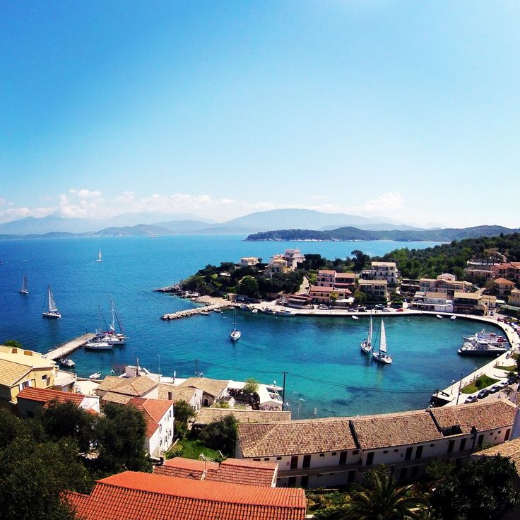 Kassiopi harbour view from up high