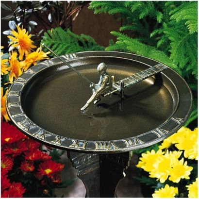 Fisherboy Sundial Birdbath - French Bronze..... love this!