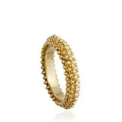 Carla Amorim's five rows of yellow gold granulations. Playful and stylish, show-stopping wedding jewellery #gold #jewellery #luxury #jewelry #AstleyClarke
