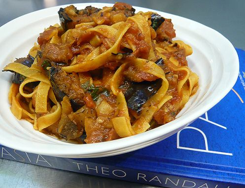 theo randall's 'pasta' + tagliatelle with aubergines, tomatoes and basil | gourmet traveller