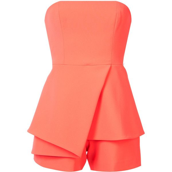 Jay Godfrey strapless playsuit ($365) ❤ liked on Polyvore featuring jumpsuits, rompers, strapless rompers, playsuit romper, red romper, red rompers and orange romper