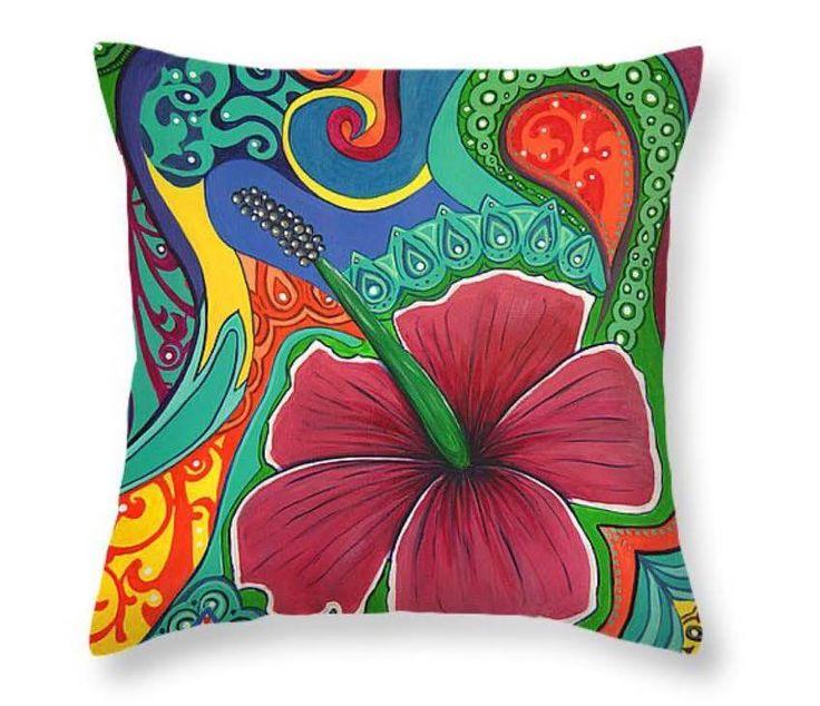 Hibiscus Dream Throw Pillow by Reina Cottier http://reina-cottier.artistwebsites.com/products/hibiscus-dream-reina-cottier-throw-pillow-14-14.html
