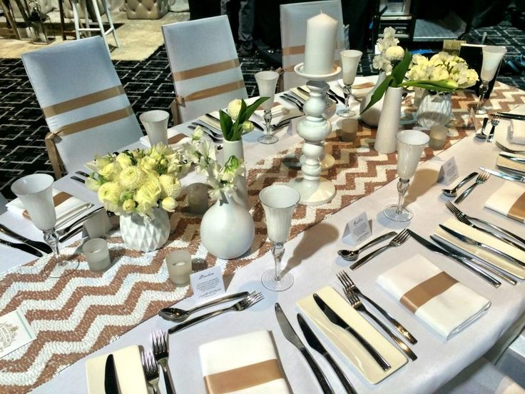 Crisp white and sequins chevron