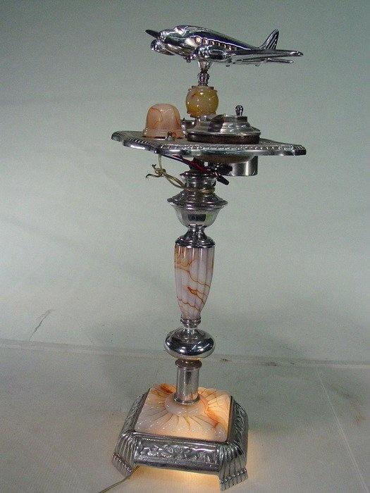 Art Deco Smoke Stand With Light Marbleized Glass Ashtray