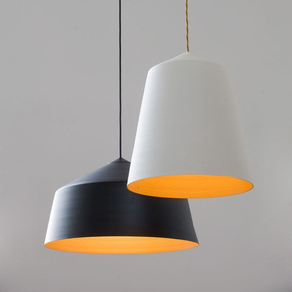 Pendant Light   CIRCUS By Corinna Warm Exterior Colours: Matt White/ Matt  Black Interior Colour: Textured With Antique Gold Metallic.