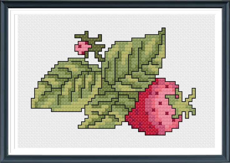 Cross Stitch Pattern,Strawberry Cross Stitch,PDF Download by AprilBeeShop on Etsy