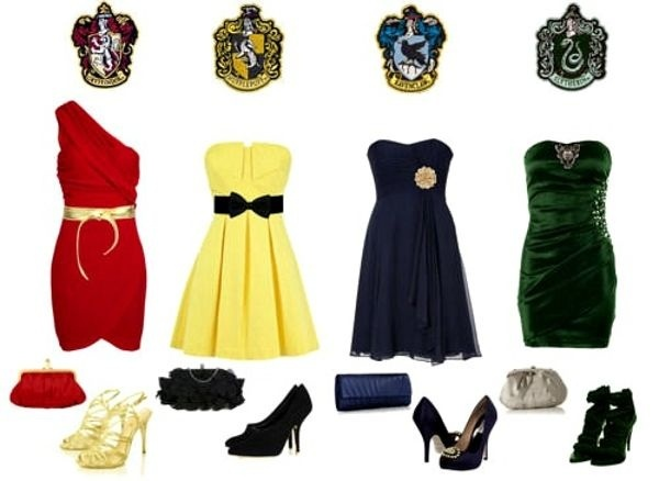 Harry Potter themed bridesmaid dresses! But are my friends nerdy enough to do this?: House Dress, Style, Bridesmaid Dresses, Harrypotter, Wedding, Outfit, Harry Potter, Hogwarts House, Potter Themed