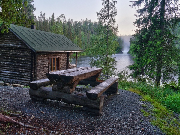 Photo: Auvo Veteläinen. Jyrävä at 5 am. Jyrävä Night cabin for hikers at Jyrävä rapids in Kuusamo Finland. This place is part of Karhunkierros (Bear's Ring), a hiking trail near the russian border. HDR-technique used but only slightly. http://en.wikipedia.org/wiki/Karhunkierros