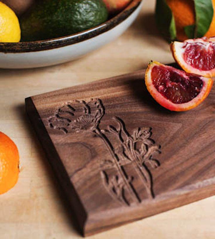 Walnut Cheese Board with Poppy Flower Design