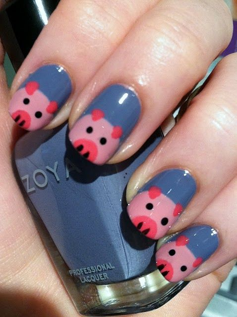 """This little piggy..."" nail art featuring Zoya Caitlin from Adventures in Acetone    I'm not a girly girl or don't paint my nails, buit if I ever did....this would be it!!!!"