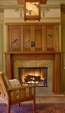 tile fireplace surround; arts and crafts; bungalow, craftsmand style fire place