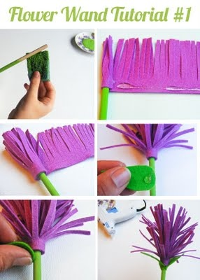 flower wand tutorial - would be fun on the tops of pencils too!