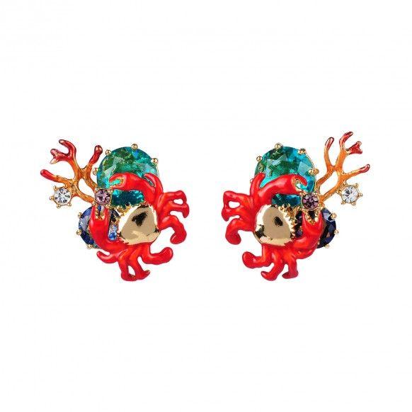 Boucles d'oreilles clip petit crabe, corail et verre taillé