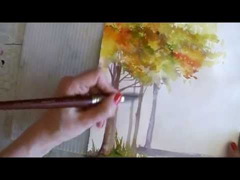 How to Paint in Watercolor: Winter & Autumn Trees Tutorial - YouTube