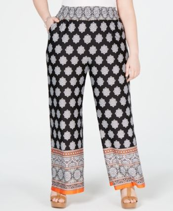 Plus Size Border-Print Smocked Pull-On Pants 3