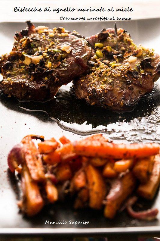 Bistecche di agnello marinate al miele con carote arrostite al sumac di Valeria