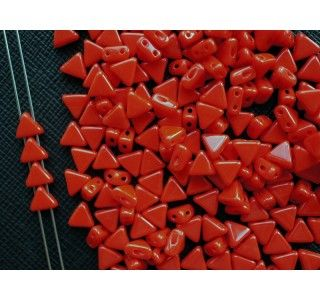 50pcs Khéops® par Puca® 6mm 2-hole Czech Glass Pressed Beads Opaque Coral Red