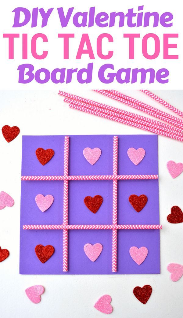 This DIY Tic Tac Toe board game is an easy Valentine's Day homemade craft for the kids to make using a foam sheet, paper straws, and pink and red hearts. #ValentineCraft #ValentinesDay #ValentinesDIY #CraftsForKoids