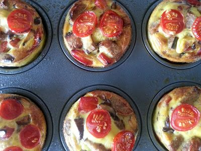 Slimming World Delights: Sausage, Mushroom and Red Pepper Mini Quiches. Uk lunch recipe
