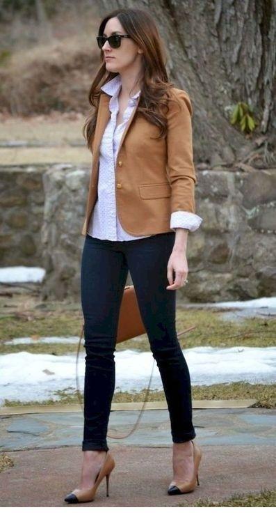 Brown blazer shirt and jeans #Blazer #brown #jeans #shirt #Women #Fashion