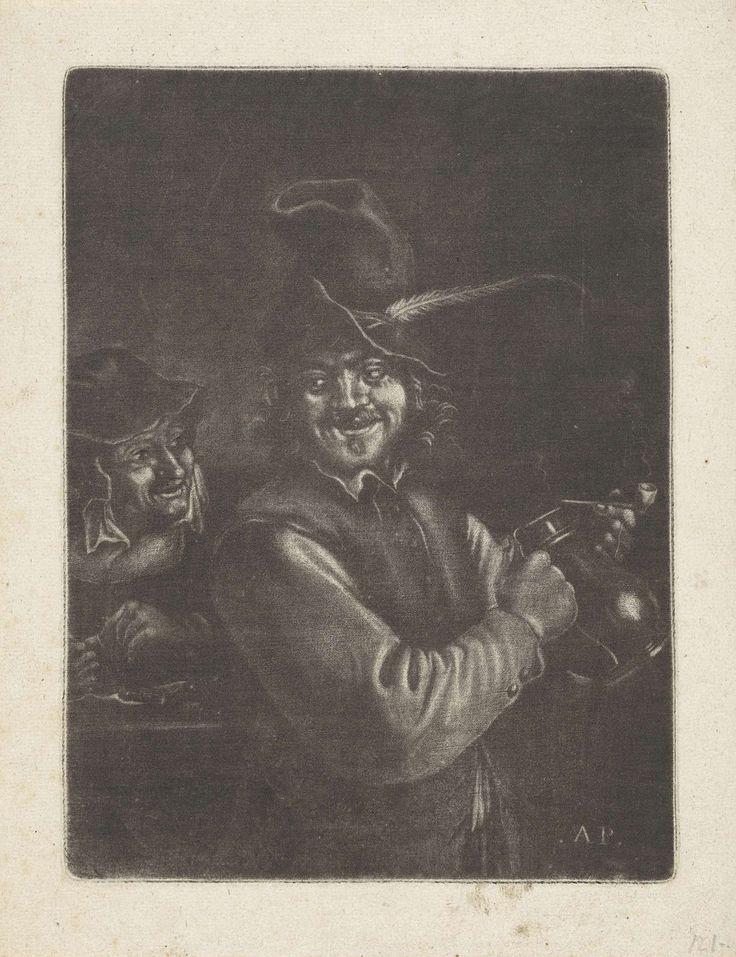 Monogrammist AP (17e-18e eeuw)   Man met een kruik, Monogrammist AP (17e-18e eeuw), 1650 - 1750   Een man met een kruik en een pijp, en een vrouw die een pijp stopt.
