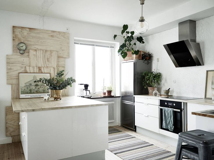White kitchen with DIY woodwork
