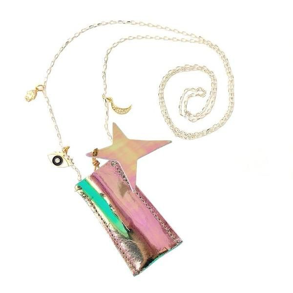 kids Atsuyo Et Akiko Crystal Foil Silk amulet necklace - Iridescent on Garmentory Kids Jewelry, Leather Pouch, Brass Chain, Crystal Necklace, Iridescent, Bag Accessories, Amulets, Crystals, Clothes For Women